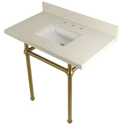 Square Washstand 36 in. Console Table in White Quartz with Metal Legs Satin Brass