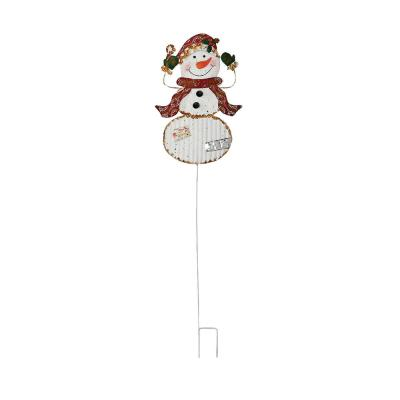 39 in. Metal Snowman Stick, Santa Hat