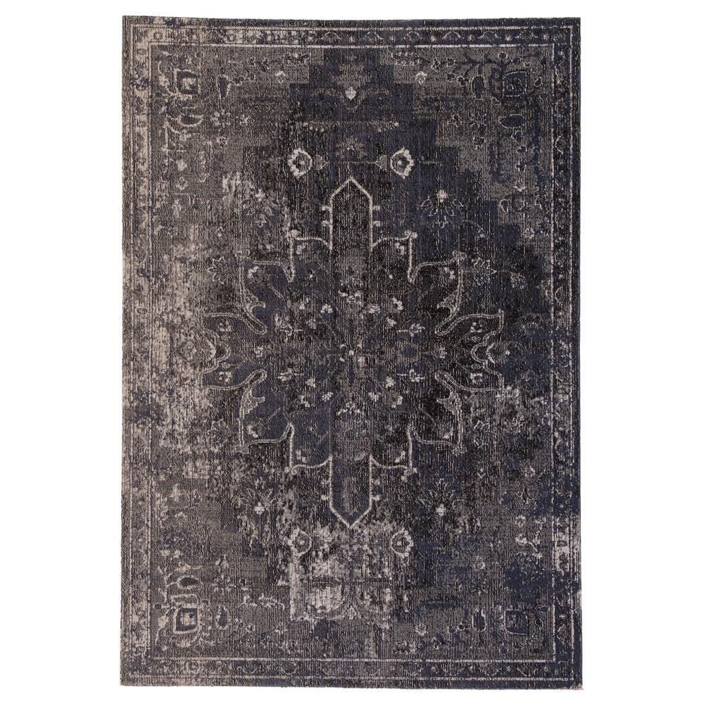 Isolde Blue/Black 2 ft. 8 in. x 10 ft. Medallion Indoor-Outdoor Runner Rug