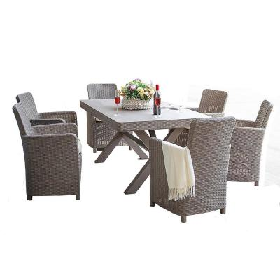 Susanna Gray 7-Piece Plastic Outdoor Dining Set with Beige Cushion