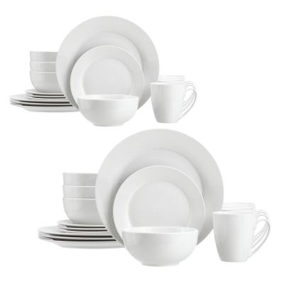 StyleWell 32-Piece White Ceramic Rimmed Dinnerware Set (Service for 8)