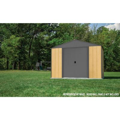 8 ft. x 8 ft. Ironwood Steel Hybrid Shed Kit Galvanized in Anthracite