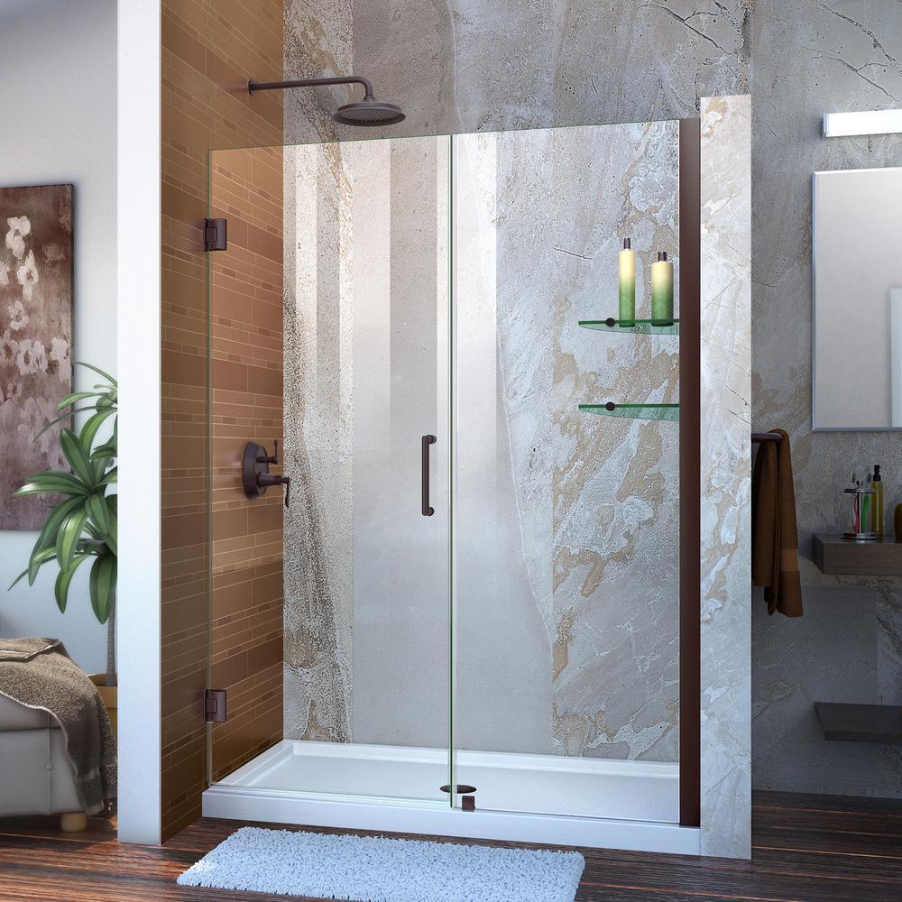 Unidoor 49 to 50 in. x 72 in. Frameless Hinged Shower Door in Oil Rubbed Bronze