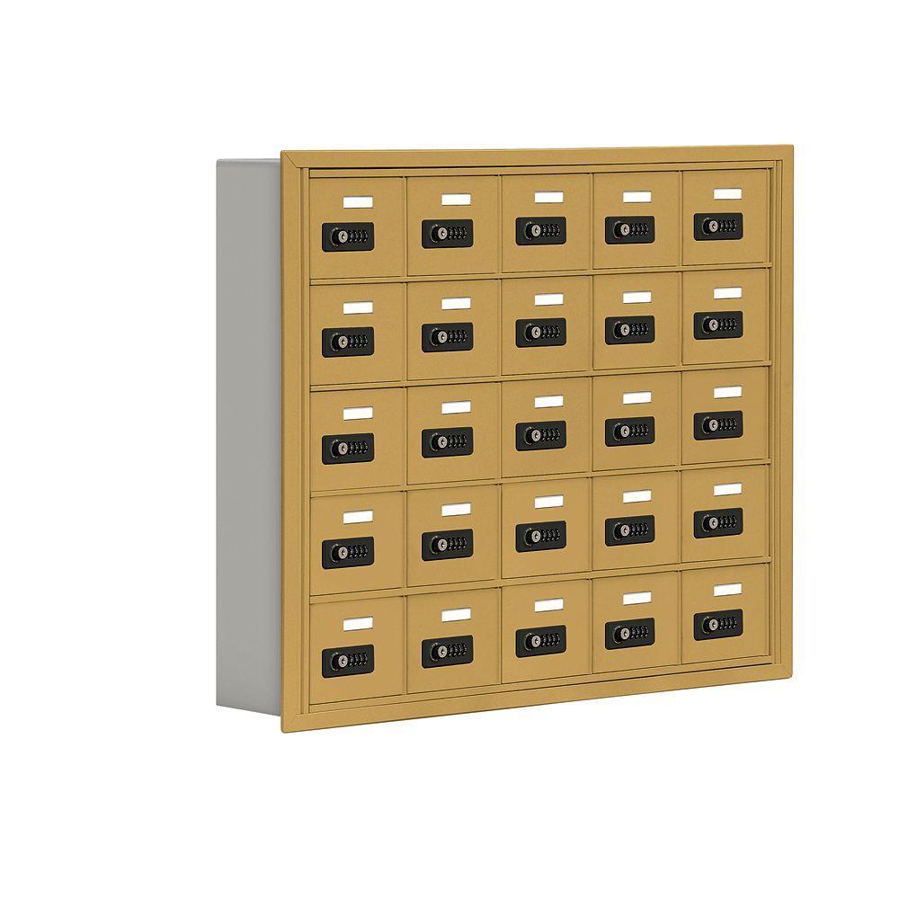 19000 Series 37 in. W x 31 in. H x 5.75 in. D 25 A Doors R-Mount Resettable Locks Cell Phone Locker in Gold