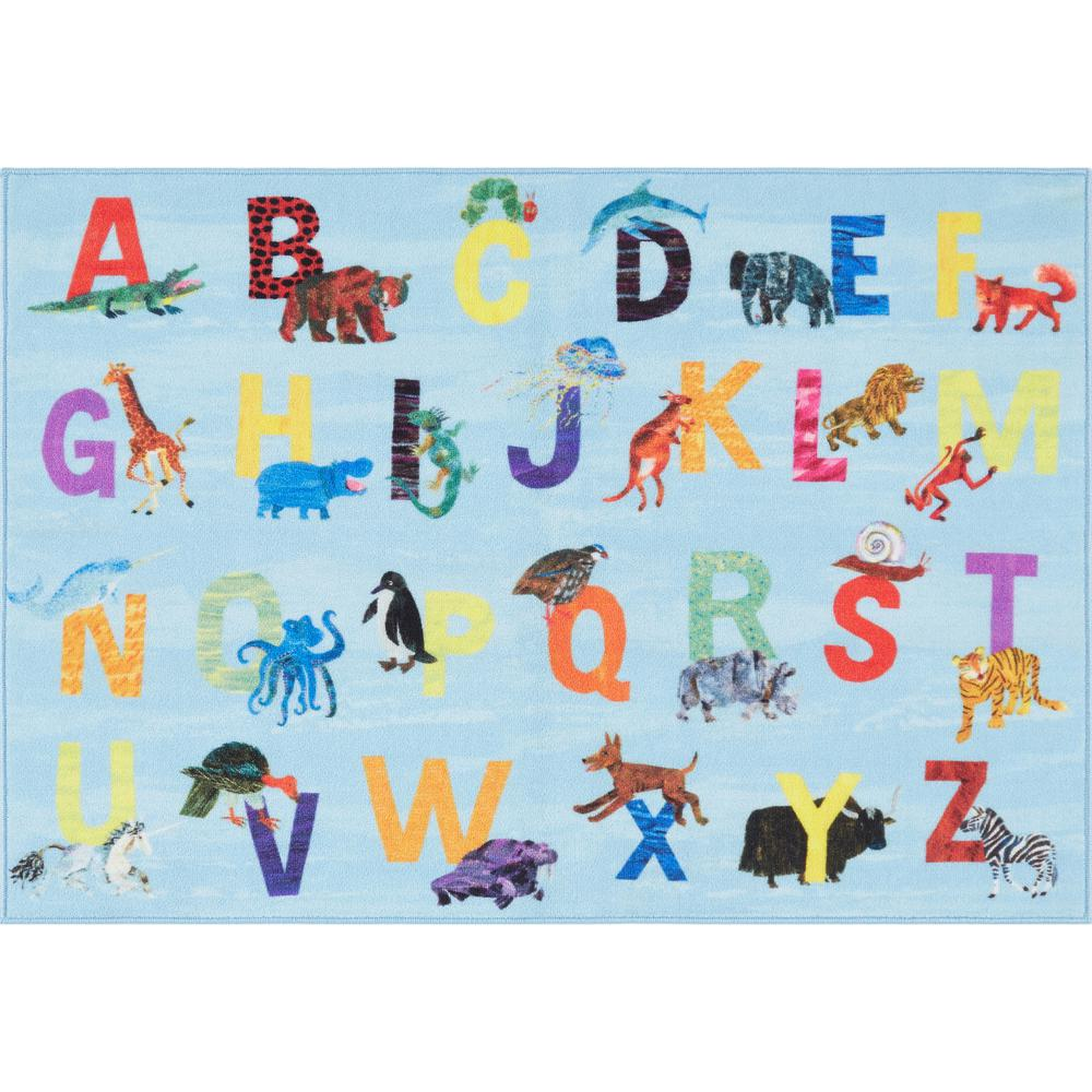 Home Dynamix Elementary Zoo Alphabet Blue 6 ft. 6 in. x 9 ft. 5 in. Indoor Area Rug