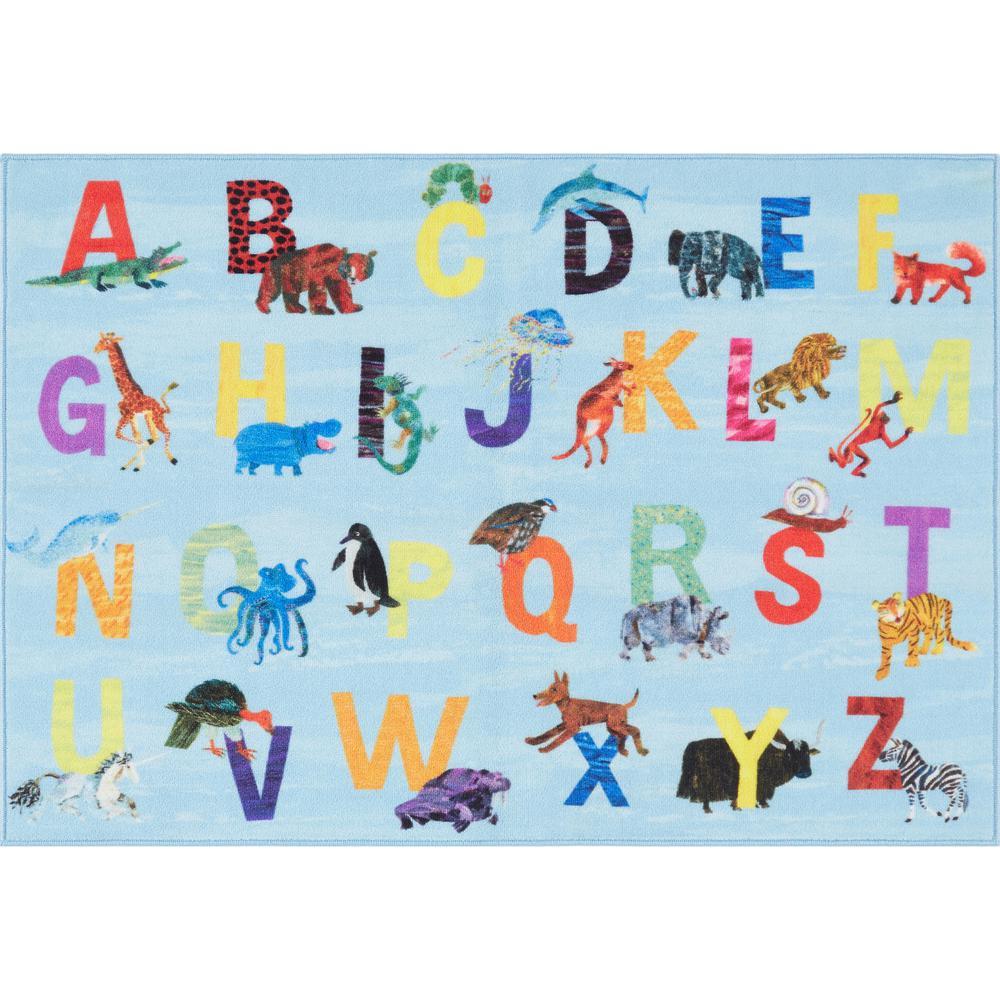 Elementary Zoo Alphabet Blue 6 ft. 6 in. x 9 ft. 5 in. Indoor Area Rug