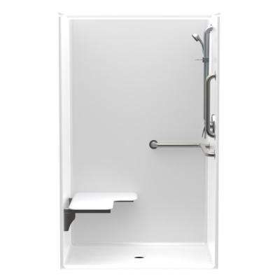 Accessible AcrylX 46 in. x 36 in. x 75.3 in. 1-Piece ANSI Shower Stall with Left Seat and Grab Bars in White