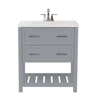 Milan 31 in. Bath Vanity in Grey with Cultured Marble Vanity Top in White with White Basin