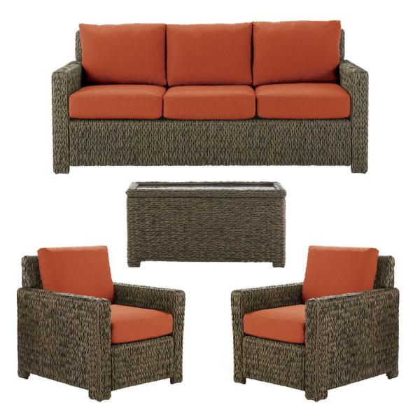 Hampton Bay Laguna Point 4 Piece Brown Wicker Outdoor Patio Deep Seating Set With Standard Quarry Red Cushions 65 516183 The Home Depot