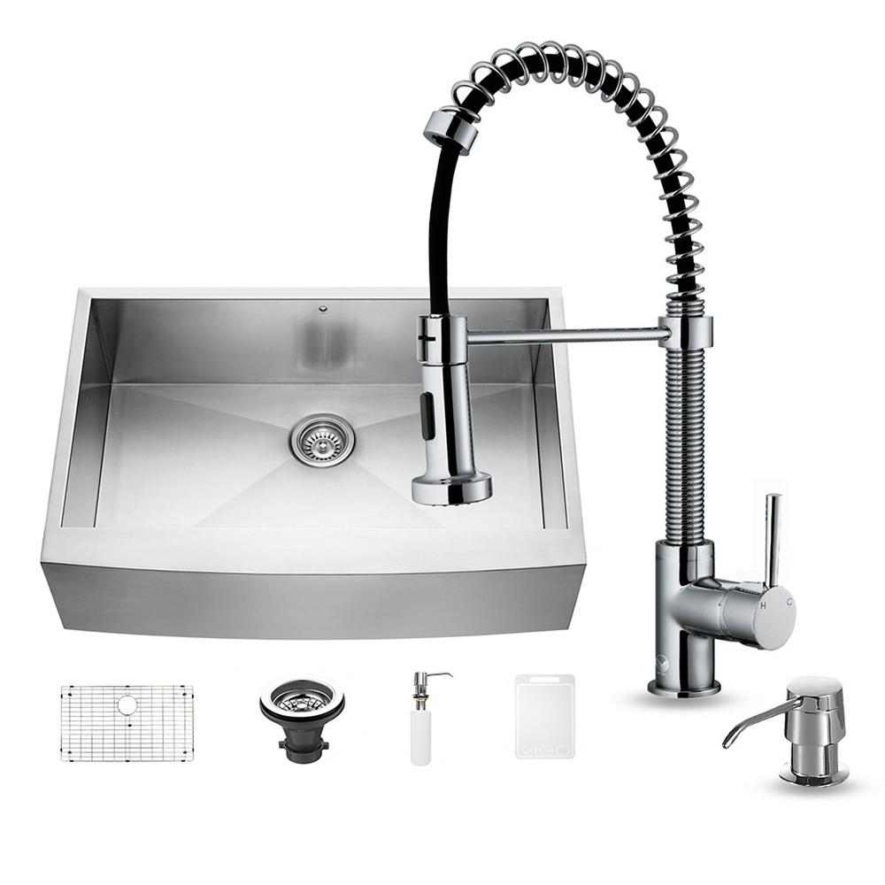 VIGO All-in-One Farmhouse Apron Front Stainless Steel 33 in. Single Bowl Kitchen Sink