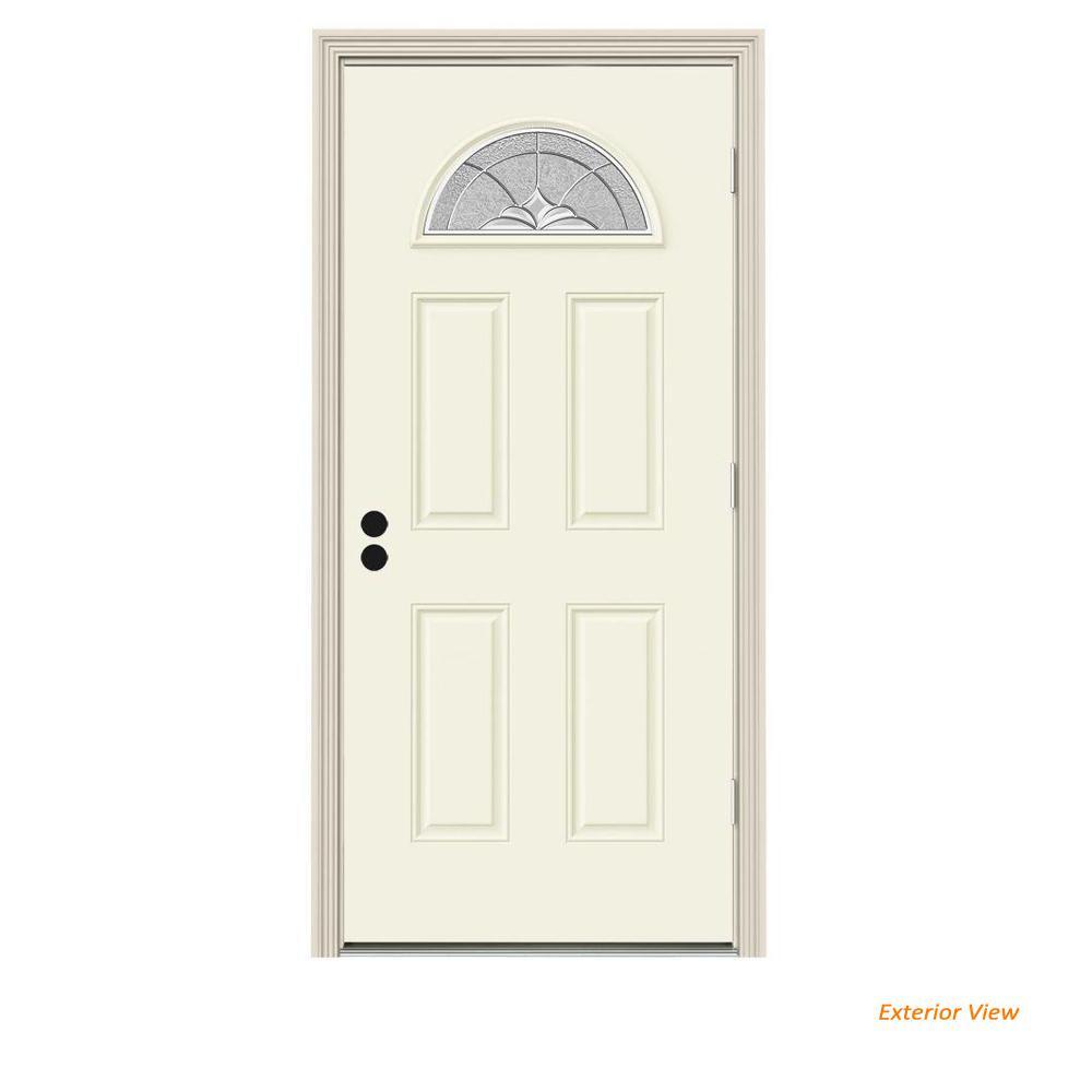 JELD-WEN 34 in. x 80 in. Fan Lite Langford Vanilla Painted Steel Prehung Left-Hand Outswing Front Door w/Brickmould