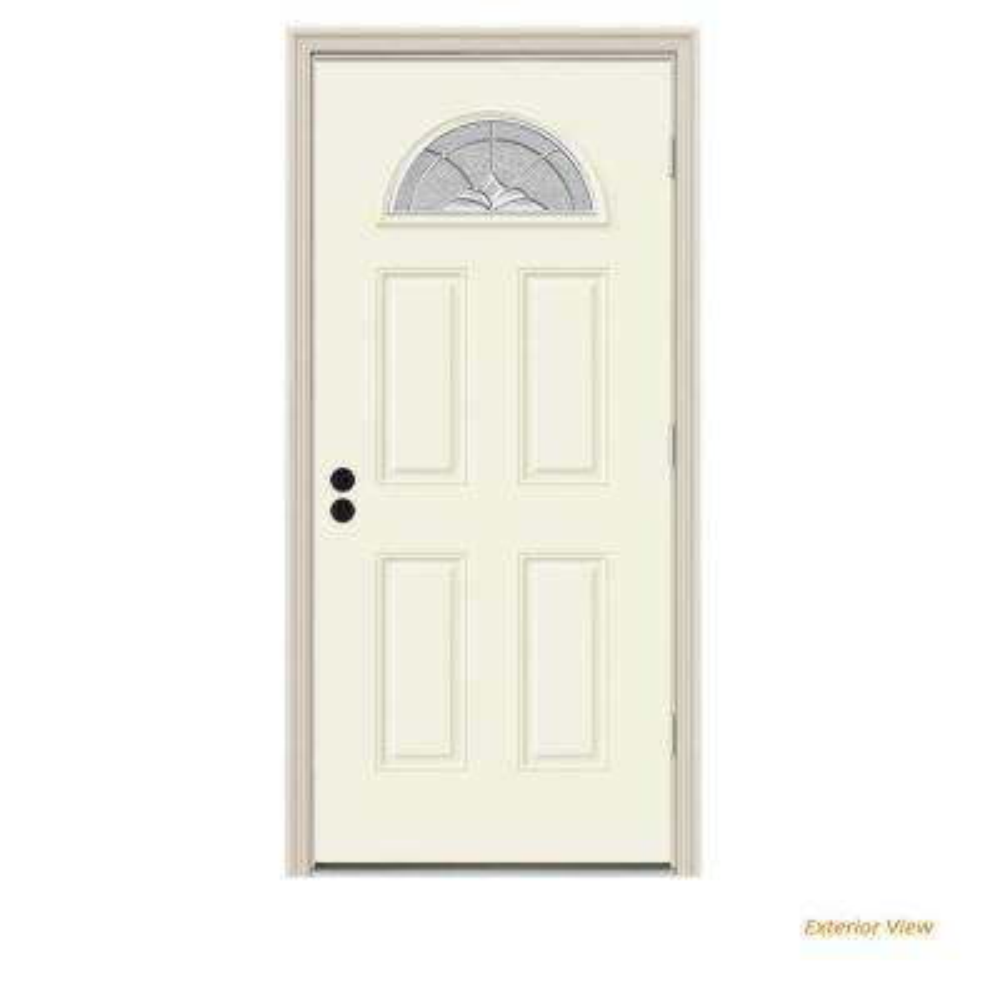 34 in. x 80 in. Fan Lite Langford Vanilla Painted Steel Prehung Left-Hand Outswing Front Door w/Brickmould