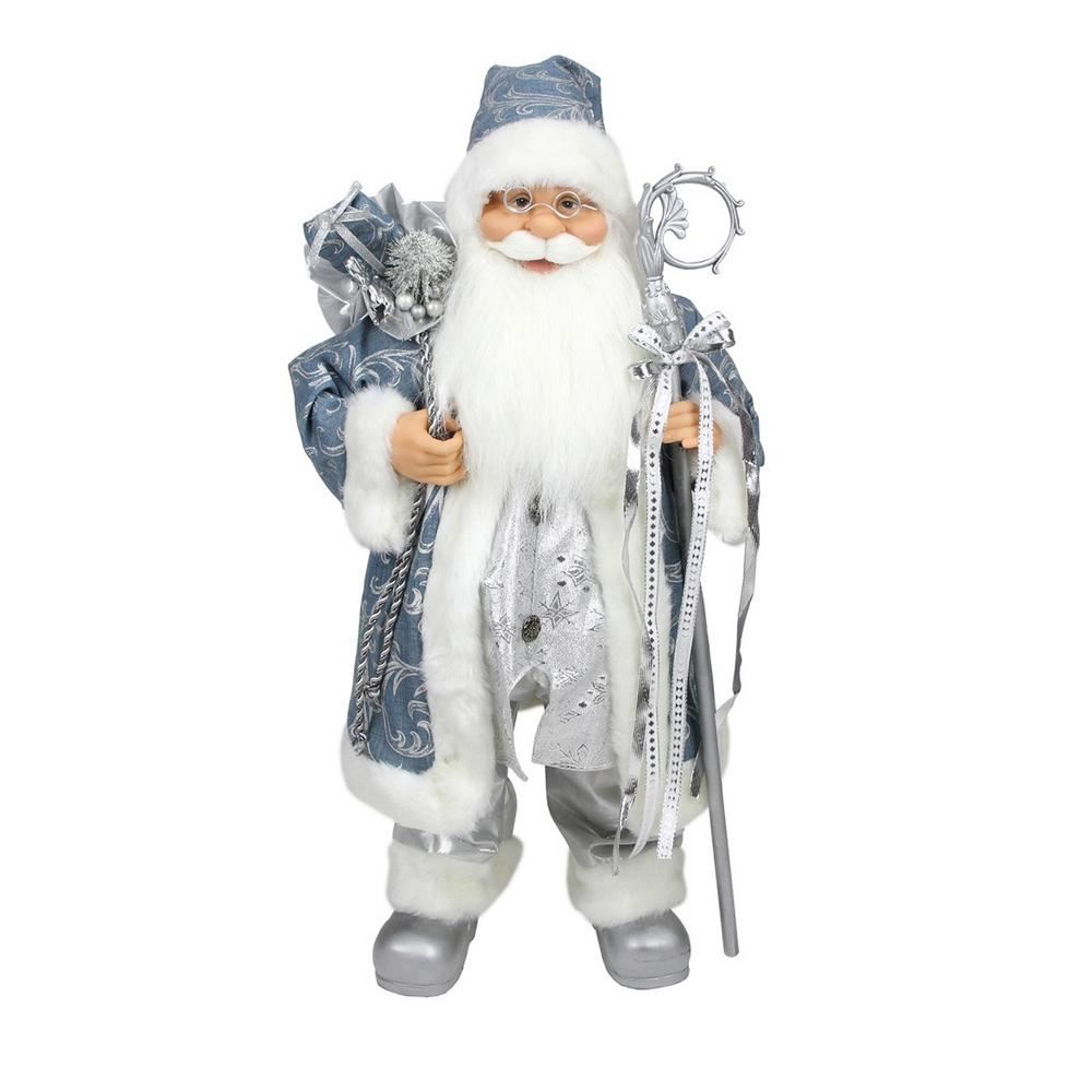 25 in. Ice Palace Standing Santa Claus in Blue and Silver