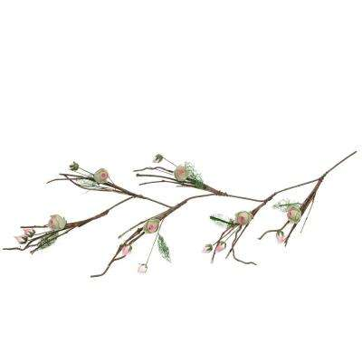 4 ft. Brown Cream and Pink Decorative Spring Floral Garland