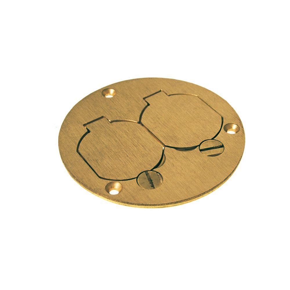 Round Floor Box Duplex Brass Cover with Lift Lids