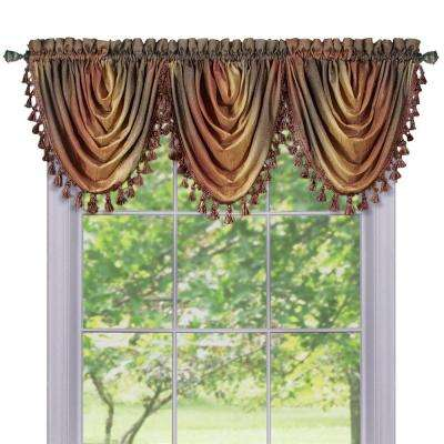 Semi-Opaque Ombre Waterfall 42 in. L Polyester Valance in Autumn
