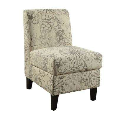 Ollano II Map Pattern Accent Chair with Storage