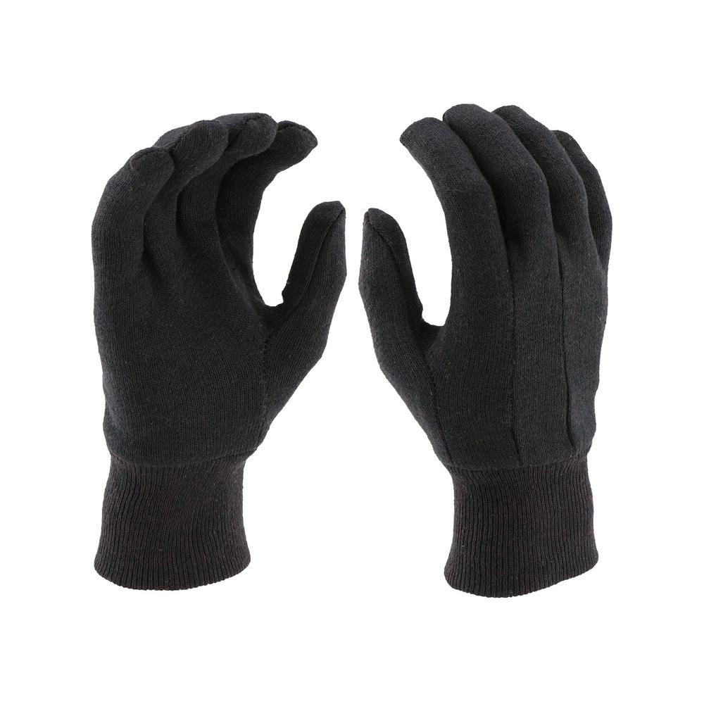 Men's Large Brown Jersey Gloves (3-Pack)