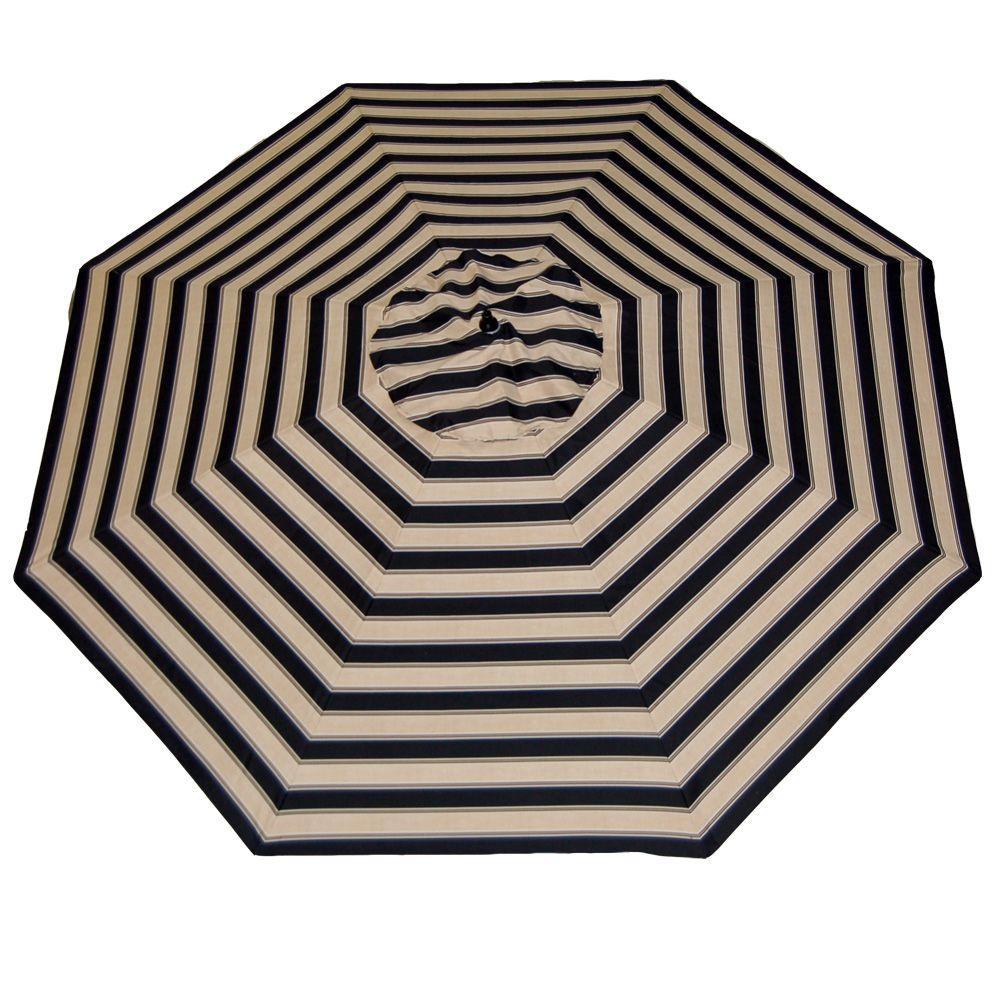 Plantation Patterns 11 ft. Patio Umbrella in Twilight Stripe