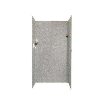 36 in. x 36 in. x 72 in. 3-Piece Easy Up Adhesive Alcove Surround in Gray Granite