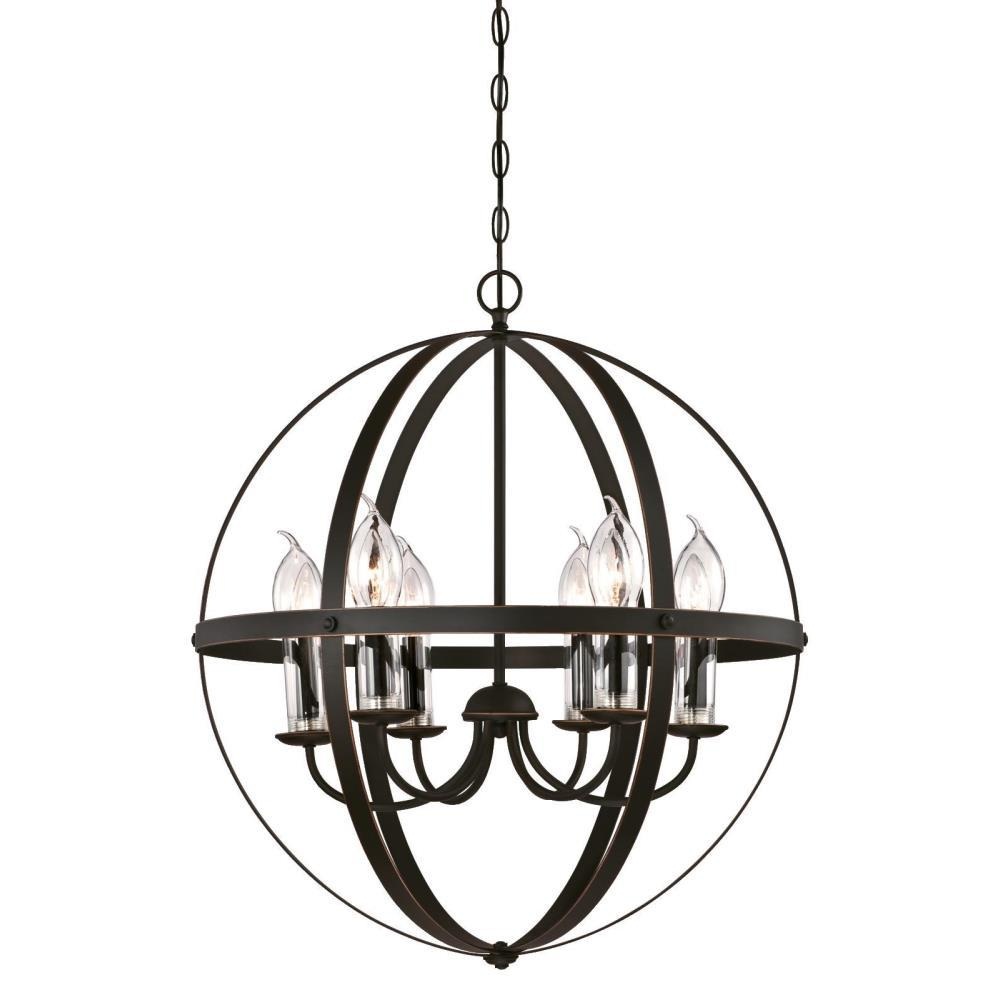 Stella Mira 6-Light Oil Rubbed Bronze with Highlights Outdoor Hanging Chandelier