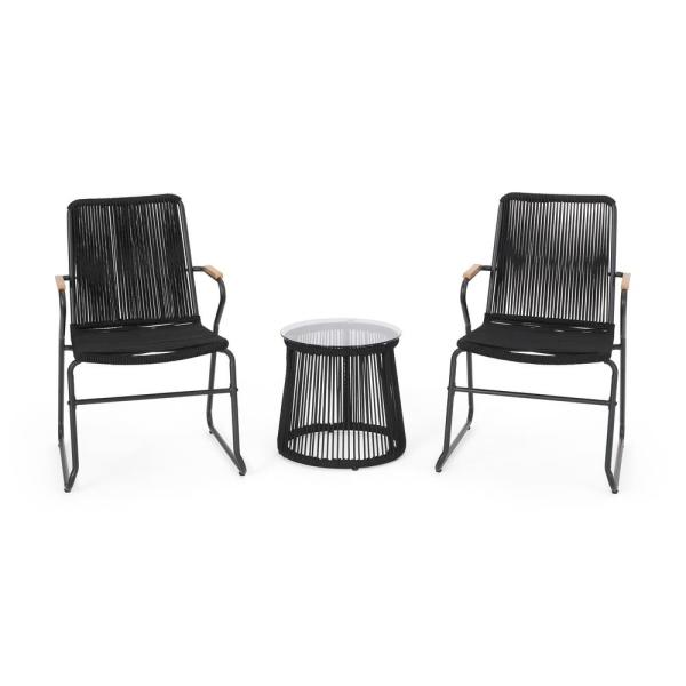 Moonstone Black 3-Piece Metal Patio Conversation Seating Set
