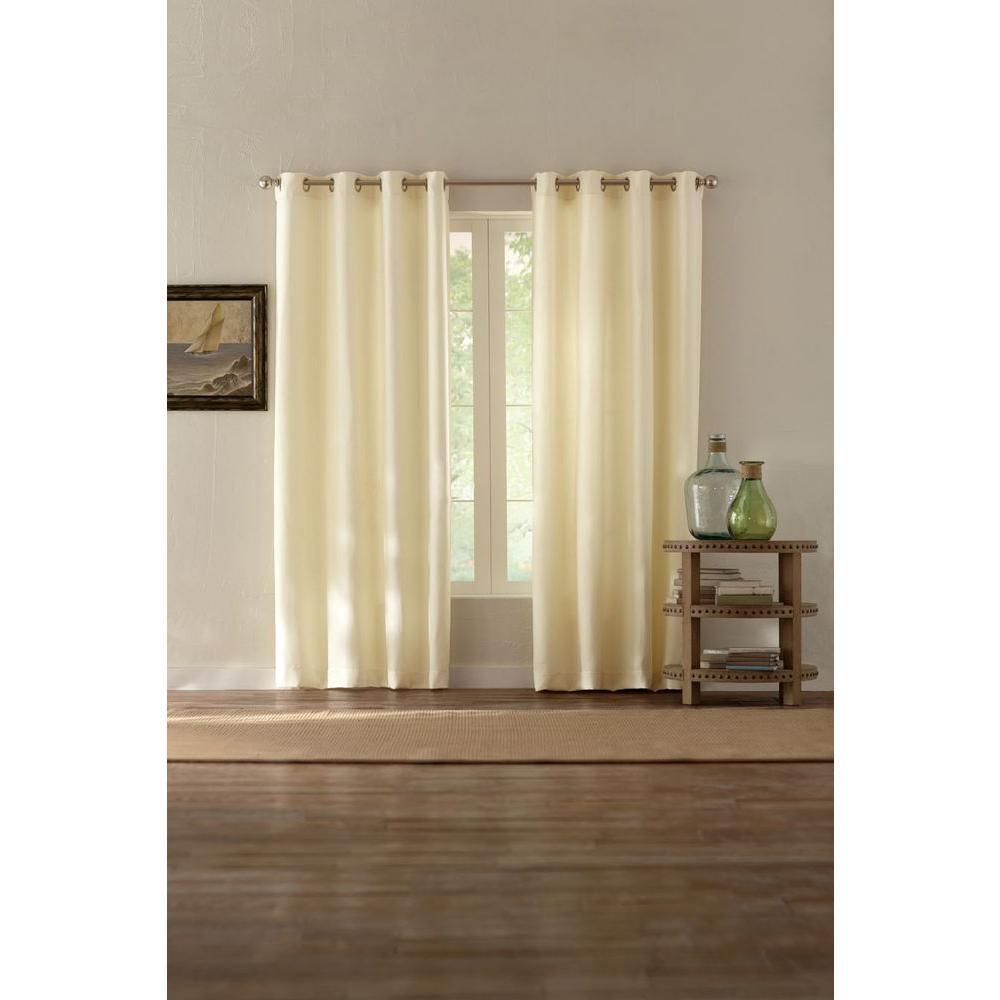Semi-Opaque Cream Basket Texture Grommet Curtain