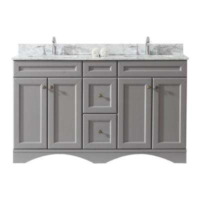 Talisa 60 in. W Double Bath Vanity in Grey with Marble Vanity Top and Square Basin