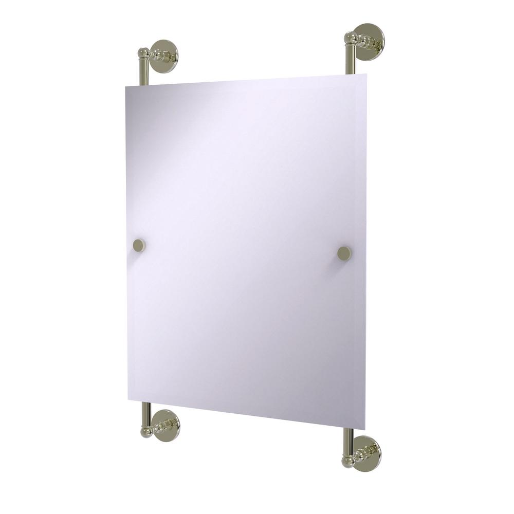 Allied Brass Prestige Skyline Collection Rectangular Frameless Rail Mounted Mirror in Polished Nickel