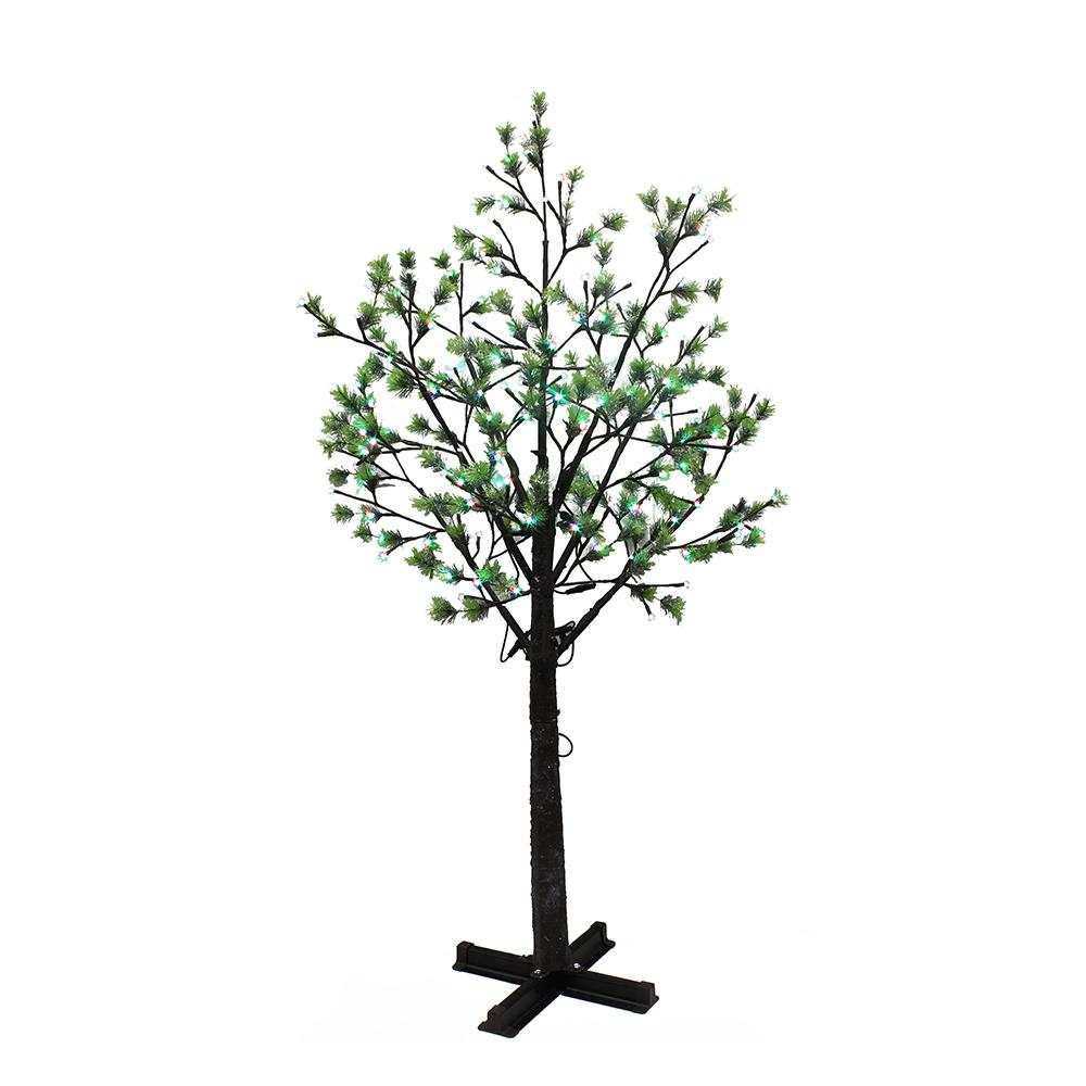 Multi Color Pre Lit Christmas Trees: Puleo International 7.5 Ft. Pre-Lit Artificial Tree With