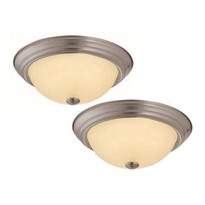 Travis 20-Watt Satin Nickel Integrated LED Flushmount (2-Pack)