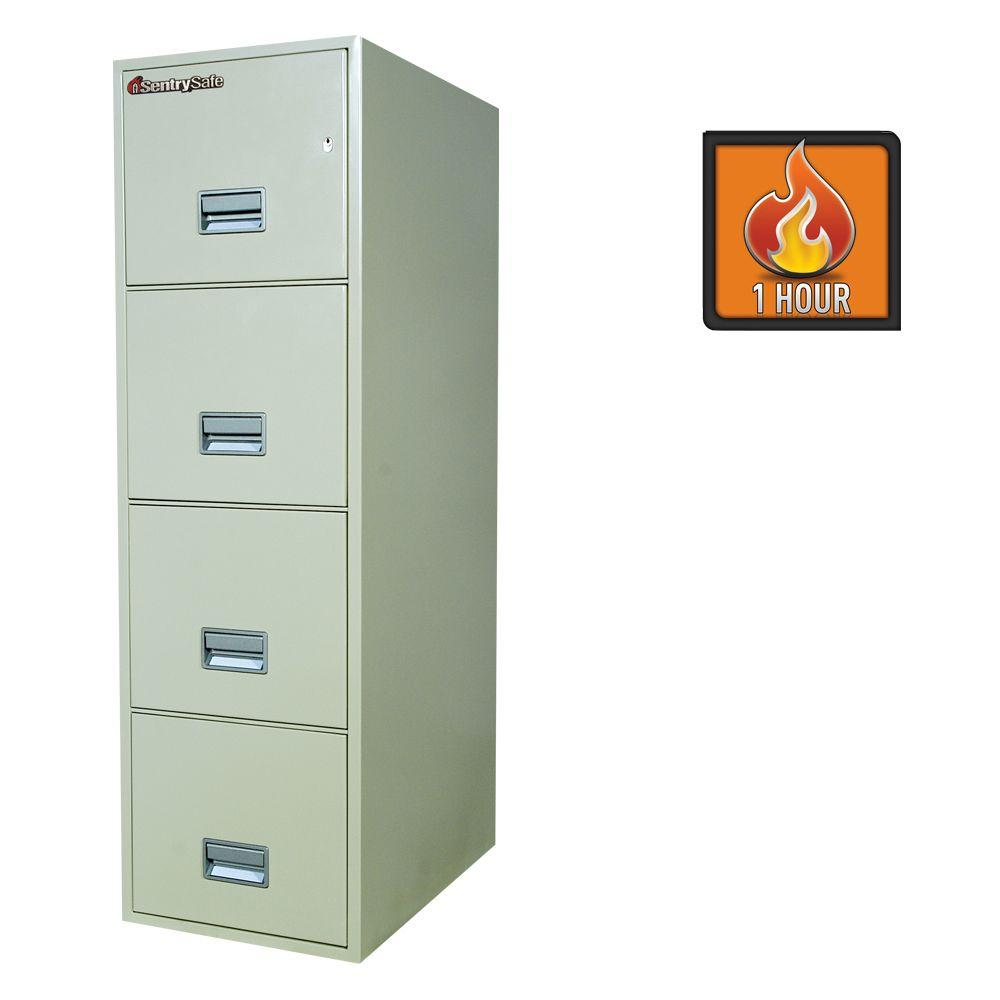 SentrySafe 4-Drawer 25 in. Deep Letter Vertical Fire File Safe in White Glove Delivery