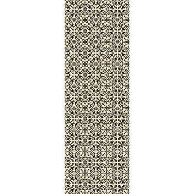 Quad European Design  2ft x 6ft black & White Indoor/Outdoor vinyl rug.