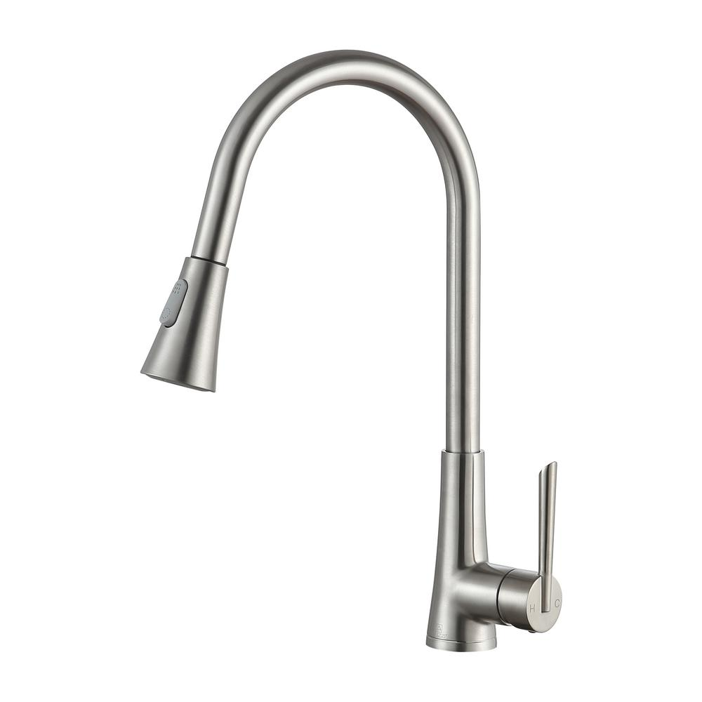 Tulip Single-Handle Pull-Out Sprayer Kitchen Faucet in Brushed Nickel