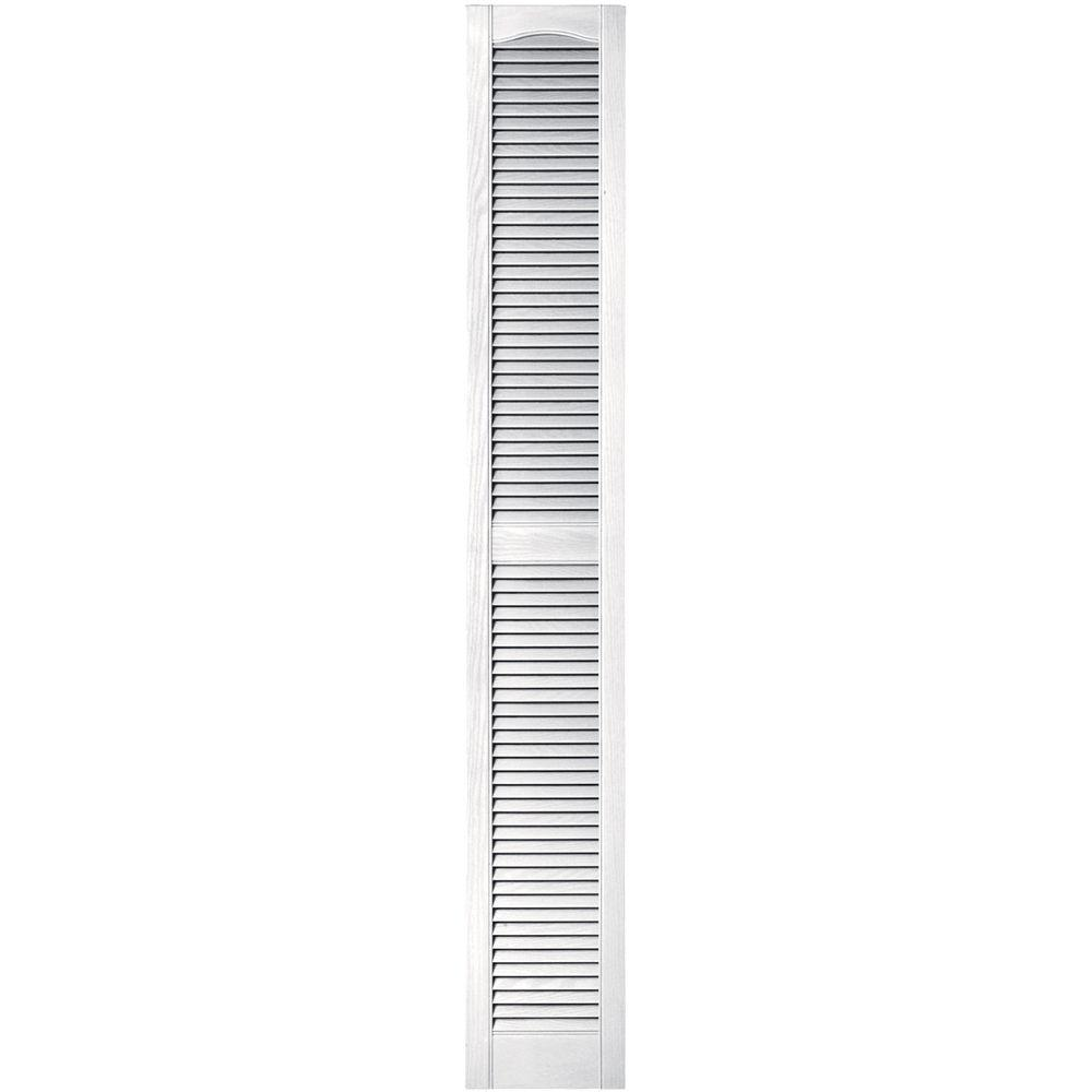 Builders Edge 12 In X 80 In Louvered Vinyl Exterior Shutters Pair In 001 White 010120079001
