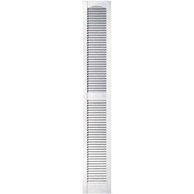 12 in. x 80 in. Louvered Vinyl Exterior Shutters Pair in #001 White