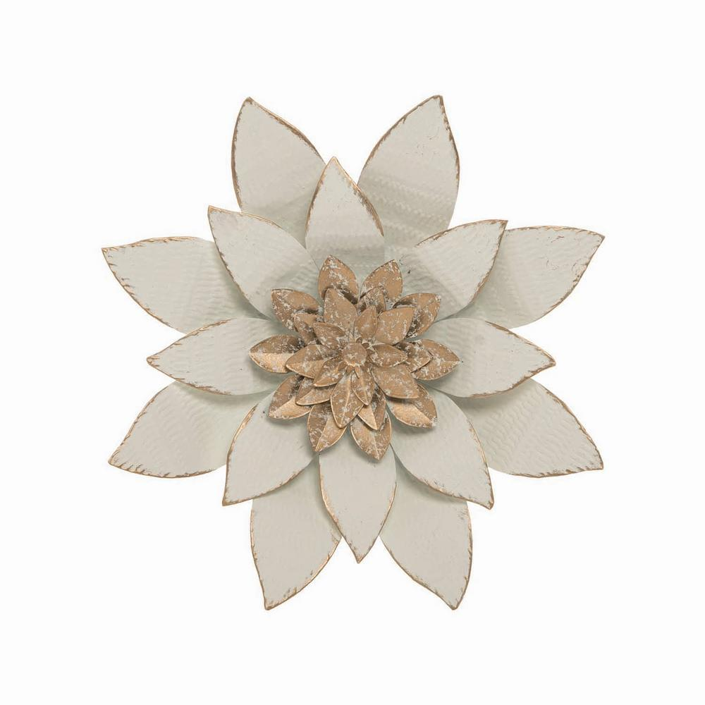 Foreside Home & Garden White Metal Layered Lotus Flower Wall Décor 10.7 in. x 10.3 in. Decorate your walls with the wonders of nature with the Serene Wall Flower from Foreside Home & Garden. Exceptionally crafted of burlap and metal, this captivating creation brings a bright and lively atmosphere to any room. Color: White.