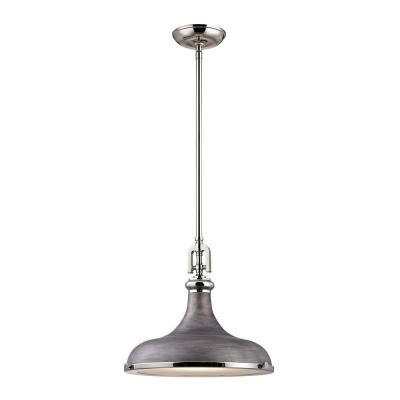 Rutherford 1-Light Polished Nickel/Weathered Zinc Pendant