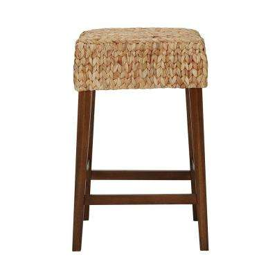 Home Decorators Collection Walnut Finish Backless Counter Stool with Woven Seat (16.14 in. W x 25.2 in. H)