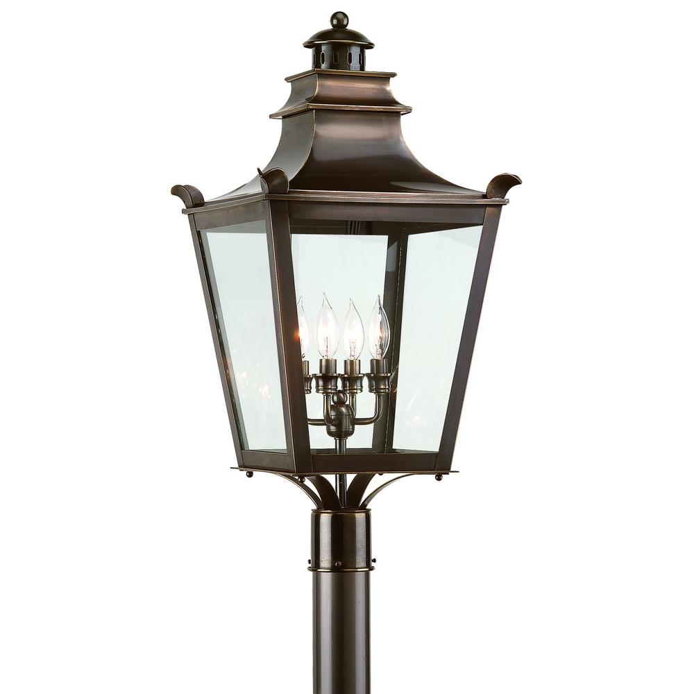 Troy Lighting Dorchester 4-Light Outdoor English Bronze Post Light ...