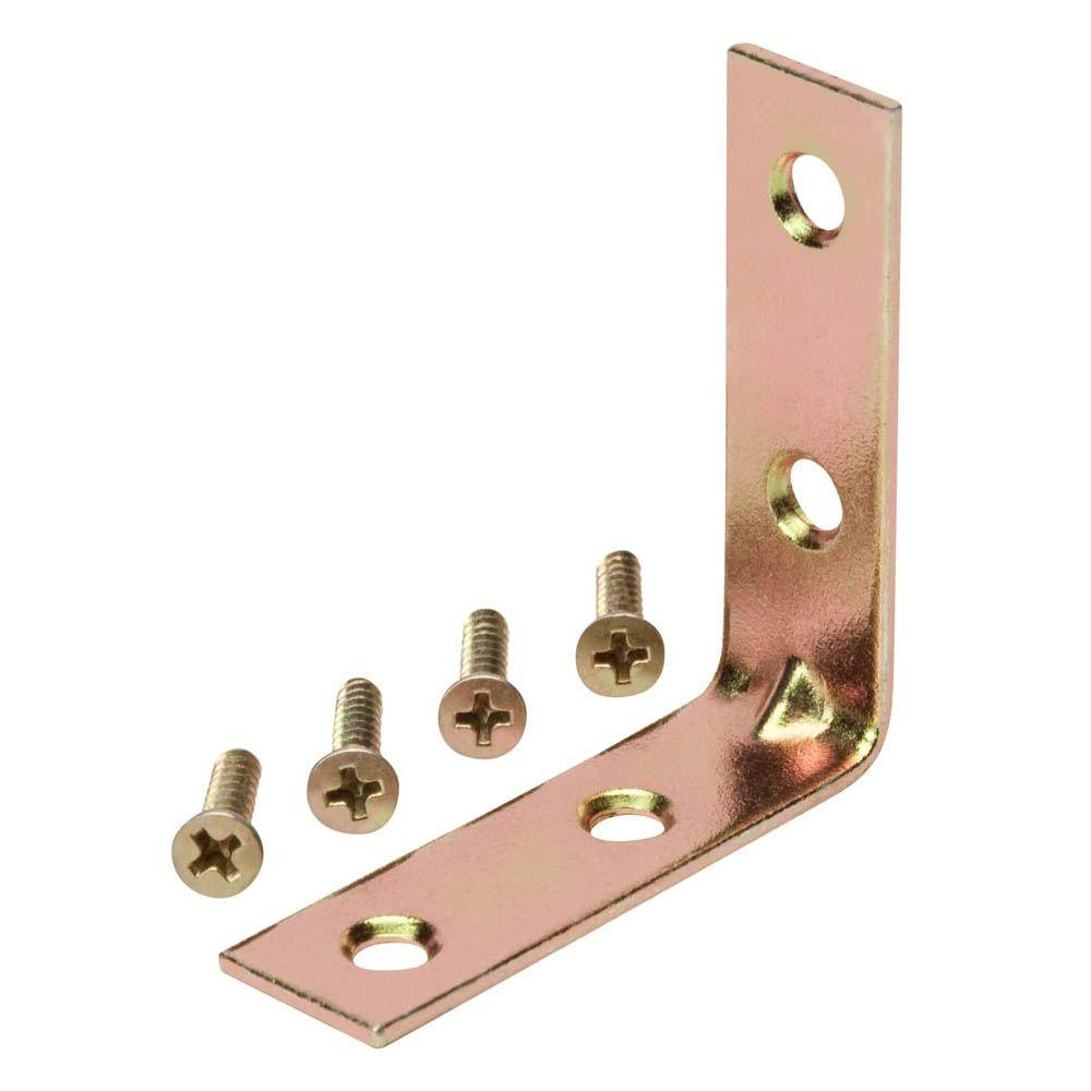 Everbilt 1-1/2 in. Satin Brass Corner Brace (4-Pack)