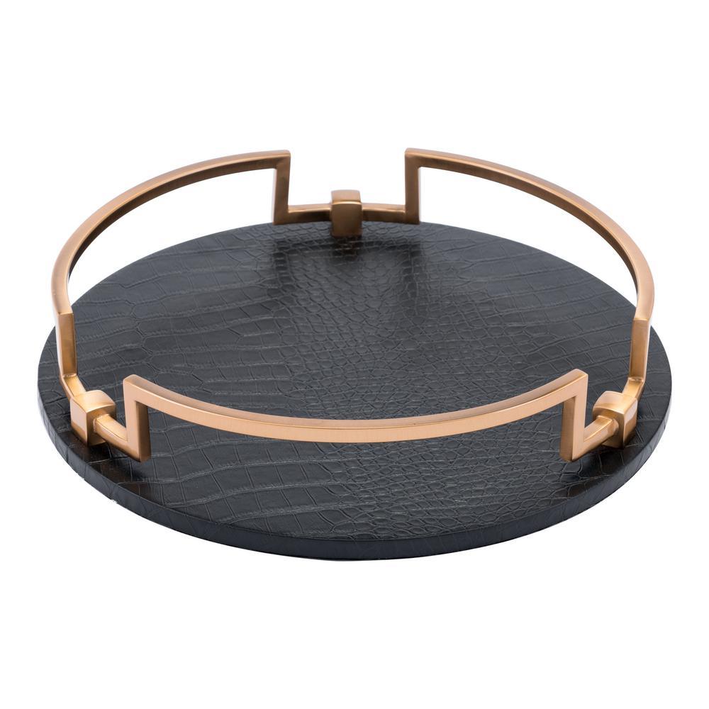 Round Black Tray
