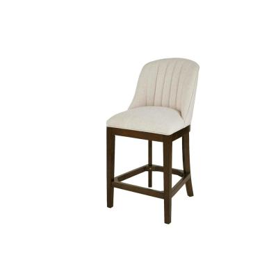 Ingram Upholstered Counter Stool with Channel Tufted Back and Biscuit Beige Seat (20 in. W x 41.34 in. H)