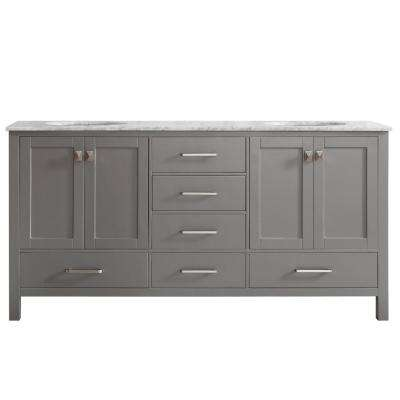 Gela 72 in. W x 22 in. D x 35 in. H Vanity in Grey with Marble Vanity Top in White with Basin