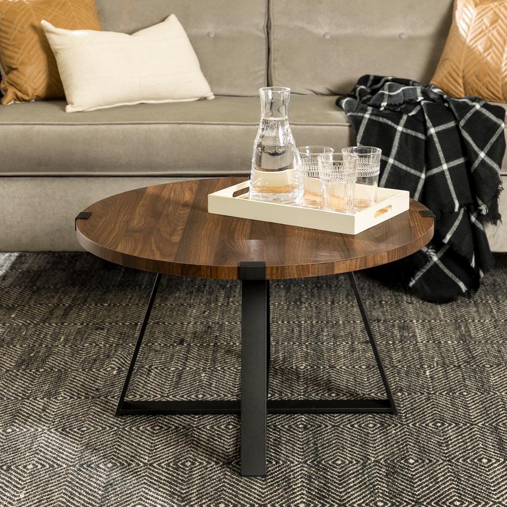 30 in. Dark Walnut/Black Rustic Urban Industrial Wood and Metal Wrap Round Coffee Table