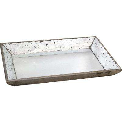 19.5 in. x 13 in. Decorative Glass Tray in Rustic White