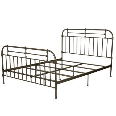 Champagne Silver Iron Victorian Queen Bed Frame