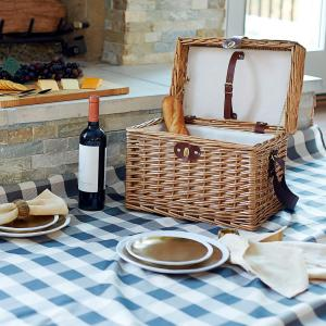 Household Essentials 11.8 x 15.75 in Willow Picnic Basket/Cross Weave with Blanket(Brown Plaid) by Household Essentials