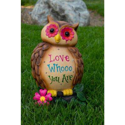 18 in. 'Love Whooo You Are' Owl Statuary