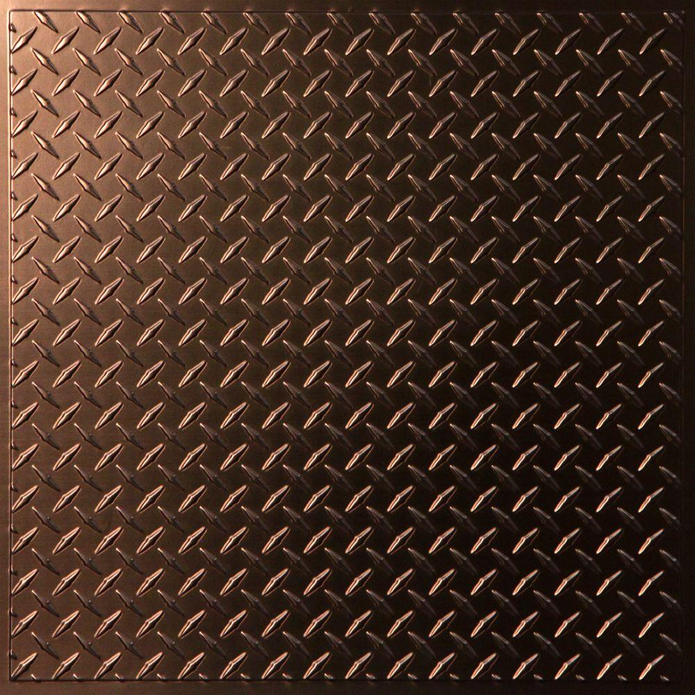 Ceilume Diamond Plate Faux Copper Evaluation Sample, Not suitable for installation - 2 ft.x2 ft. Lay-in or Glue-up Ceiling Panel